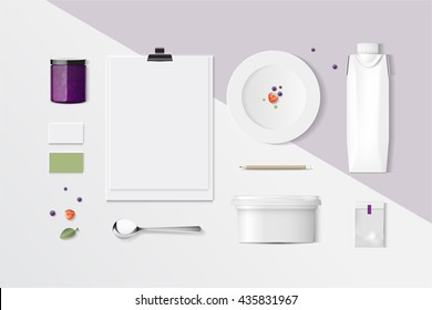 mock up, set white chocolate food and drink for your design presentation, top view, package template for juice or dairy product, vector design.