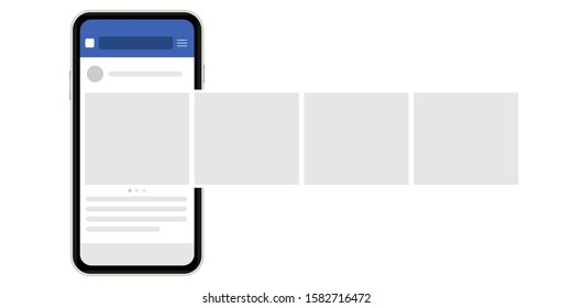 Mock up, template. Social network post. Interface carousel.