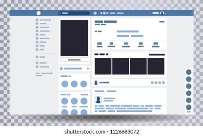 Mock up web page browser, concept of social page Interface on the laptop, social media vector illustration template