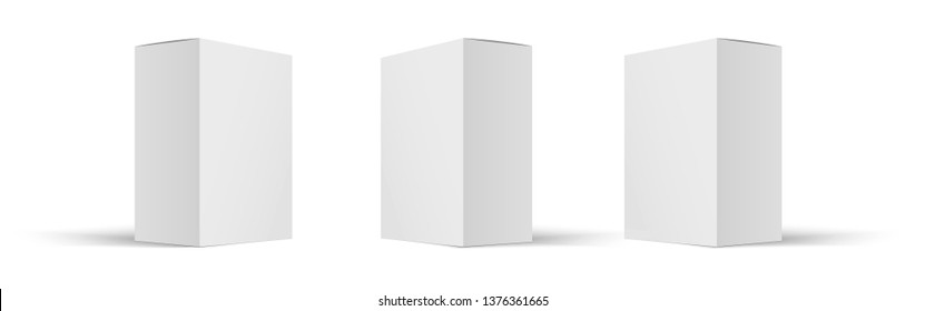 Mock up white cardboard box . Set of cosmetic or medical packaging. Set of  Blank white product packagings boxes isolated.  Vector illustration