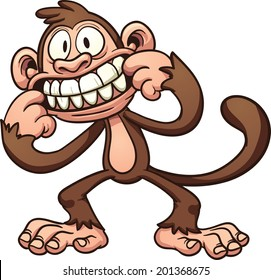 Mocking cartoon monkey. Vector clip art illustration with simple gradients. All in a single layer.