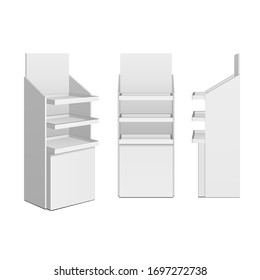 Mockup 3D Cardboard Retail Display Stand Floor Rack, Shelf, Shelves For Supermarket Blank Empty. Illustration Isolated On White Background. Mock Up Template