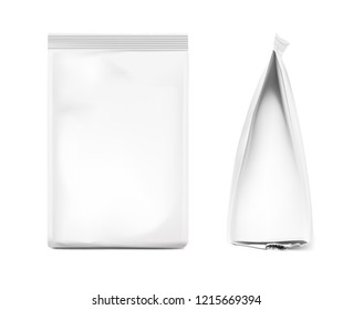 Mockup of bag isolated on white background. Front and side view. Flat bottom. Vector illustration. Can be use for template your design, presentation, promo, ad. EPS10.