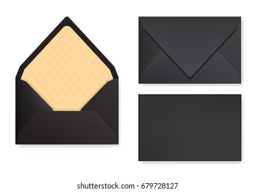 Mock-up of black designed envelope. Front view, closed and opened back side. Triangle flip, golden textured paper inside. 3D realistic vector illustration with transparent shadows.