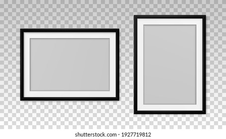 Mockup black frame photo. Shadow on wall. Mock up artwork picture framed. Set vertical and horizontal boarder. Empty board photoframe. A4 border. Design prints poster, blank, painting image. Vector