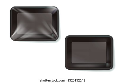 Mockup Black realistic plastic food container wrapped by polyethylene and without the wrapper. Vector Rectangle Blank Styrofoam tray, Template for your design. For example, packaged air. Illustration