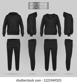 Mockup of the Black sportswear hoodie and trousers in four dimensions: front, side and back view, gradient mesh vector. Clothes for sport and urban style