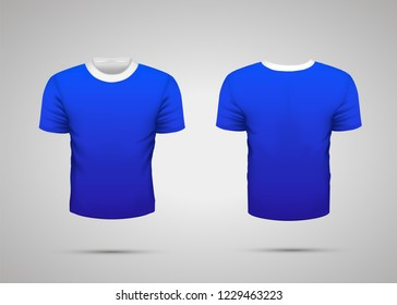 Mockup of blank blue realistic sport t-shirt with shadow