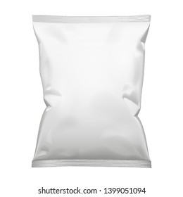 Mockup Blank Foil Or Paper Food Stand Up Pouch Snack Sachet Bag Packaging. Front View. Illustration Isolated On White Background. Mock Up, Template Ready For Your Design. Vector EPS10