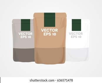 Mockup Blank food snack stand up flexible pouch snack sachet,product packaging template with three color grey white and brown, illustrator vector background