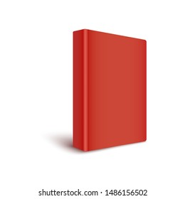 Mockup of blank red cover book stands by turning spine to front realistic style, vector illustration isolated on white background. 3d template of color closed hardcover book in three quarters view