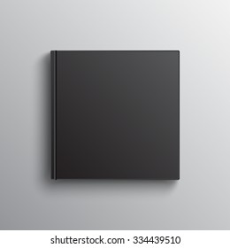 Mockup of blank square black book on grey. Textbook, booklet or notebook for design and branding