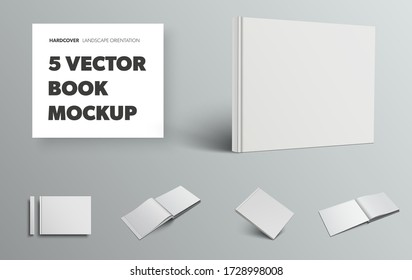 Mockup of blank vector book in white hardcover and landscape orientation, front and back view, isolated on gray background. Set of open, closed templates with realistic shadows for design presentation