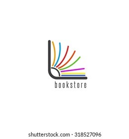 Mockup book logo, flipping colored pages of the book, emblem of the bookstore or library