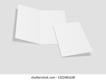 Mockup of the booklet or brochure with open blank pages. A4 half folded. Isolated vector illustration on white background.
