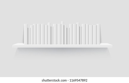 Mockup Of Bookshelf With Blank Books Realistic Vector Illustration