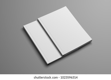 Mockup of the brochure for the presentation of the cover. Two white realistic blank format A4 and A5 on a gray background. Set. Vector illustration
