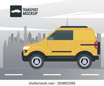 mockup car color yellow icon vector illustration design - Shutterstock ID 1818052385