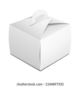 Mockup Cardboard Cake Box Carry Packaging For Fast Food Meal, Gift Or Other Products. Perspective View. Illustration Isolated On White Background. Template Ready For Your Design. Vector EPS10