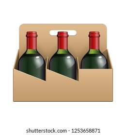 Mockup Cardboard Packag Sixpack With Alcohol Drink Green Glass Bottles Beer, Wine. Beverage Pack. 3D Illustration Isolated On White Background. Mock Up Template Ready For Your Design. Vector EPS10