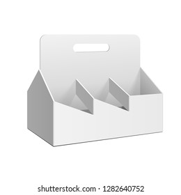 Mockup Cardboard Packag Sixpack For Alcohol Drink Green Glass Bottles Beer, Whine. Beverage Pack. 3D Illustration Isolated On White Background. Mock Up Template Ready For Your Design. Vector EPS10