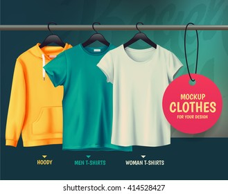 Mock-up clothes for your design.Hoody. Men t-shirts. Woman t-shirts.