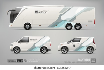 Mockup of Coach Promo tour Bus, Cargo Van and Commercial Car isolated on grey. Abstract hi-tech technology geometric elements for Brand identity and Advertising. Commercial Coach Bus