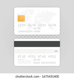Mockup Credit Card with worlds map. Empty plastic card template isolated on transparent background. Realistic style. Business and finance concept. Vector illustration EPS 10.
