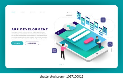 Mock-up design website flat design concept app development with developer coding and working together. Vector illustration.