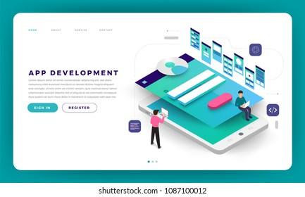 Mock-up design website flat design concept app development with developer coding and working together. Vector illustration.