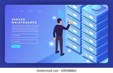 Mock-up design website flat design concept server hosting information. Vector illustration.