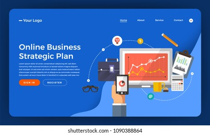 Mock-up design website flat design concept digital marketing. Online business strategic plan. Vector illustration.