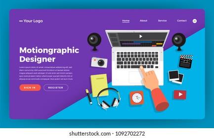 Mock-up design website flat design concept motiongraphic & video effect designer.  Vector illustration.