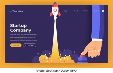 Mock-up design website flat design concept startup company rocket rise with hand push button.  Vector illustration.