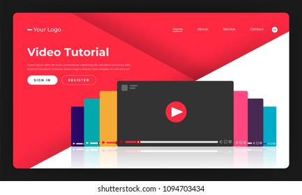 Mock-up design website flat design concept video tutorial.  Vector illustration.