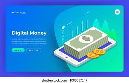 Mock-up design website flat design concept digital marketing. digital money analyze with graph chart. Vector illustration.