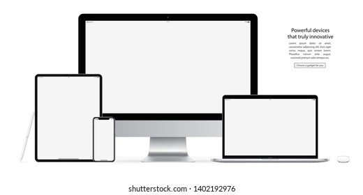 mockup devices and gadgets: stylus, mouse, smartphone, tablet, laptop and computer monitor with blank screen isolated on white background. stock vector illustration eps10
