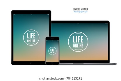 mockup devices in iphone, ipad and macbook style: smartphone, tablet and laptop with color screen isolated on white background. stock vector illustration eps10