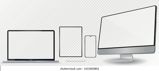 mockup devices iphone,  ipad tablet and stylus macbook and imac with blank screen isolated on white background. stock vector illustration eps10