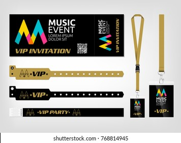 Mockup of different access control designs. Suitable for events, concerts, parties, festivals and private areas. Bracelets, ticket and lanyards. Easy color editing. Vector template.