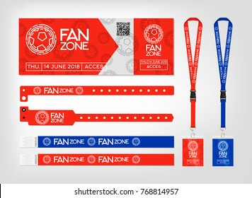 Mockup of different access control designs. Bracelets, ticket and lanyards. Design for fan zone football event. Vector template.