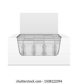 Mockup Display Holder Box Cardboard Filled Blank With Package, Gift, Square Pack. Vitamins, Cosmetic, Perfume, Chocolate. Mock Up, Template. Products On White Background Isolated. Mockup Packing.
