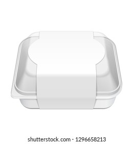 Mockup Empty Blank Styrofoam Plastic Food Tray Container With Lid And Label. Illustration Isolated On White Background. Mock Up Template Ready For Your Design. Vector EPS10