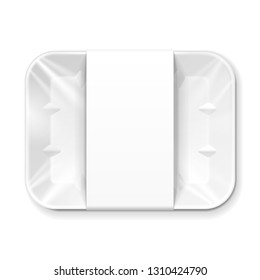 Mockup Empty Blank Styrofoam Plastic Food Tray Container With Lable. Illustration Isolated On White Background. Mock Up Template Ready For Your Design. Vector EPS10