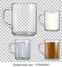 Mockup of empty glass cup isolated on transparent background. Mug full with tea, water and milk. Vector realistic 3d mock up.