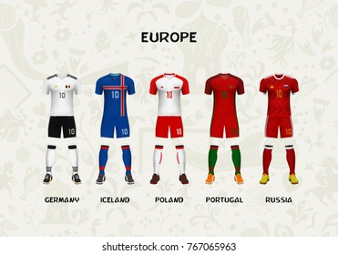 mockup of Europe football jersey. Concept for soccer uniform of team that qualified to tournament in Russia. Vector illustrative