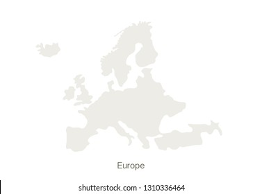 Mockup of Europe map on a white background. Vector illustration template.