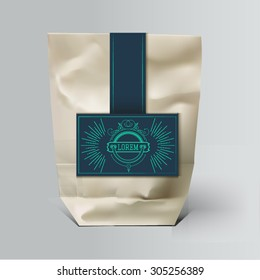 Mockup Foil Food Snack pack For Chips, Spices, Coffee, Salt, and other products. Plastic Pack Template for your design and branding. Vector. Realistic packaging with label and typography