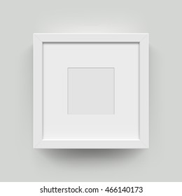 Mockup frame. Square blank picture frame for photographs. Vector realisitc paper or plastic white frame mat with wide borders shadow. Isolated picture frame mockup template on wall background