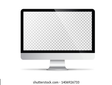 mockup in front of monitor that looks realistic with transparent screen.